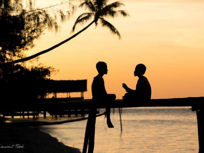 Boy's talk sunset